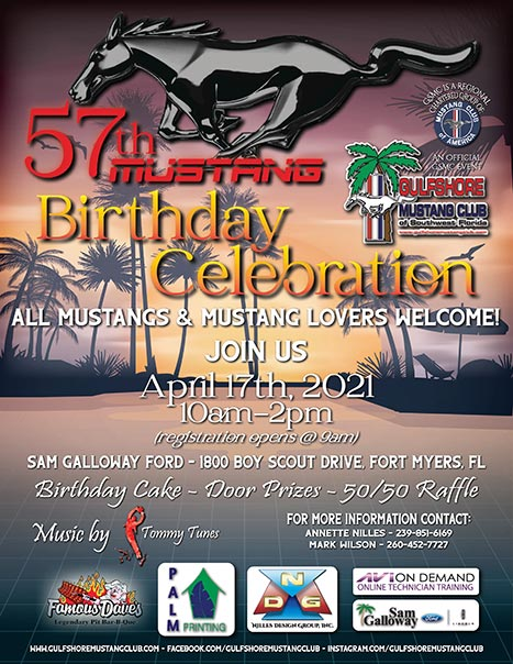 57th Mustang Birthday celebration April 17, 2021