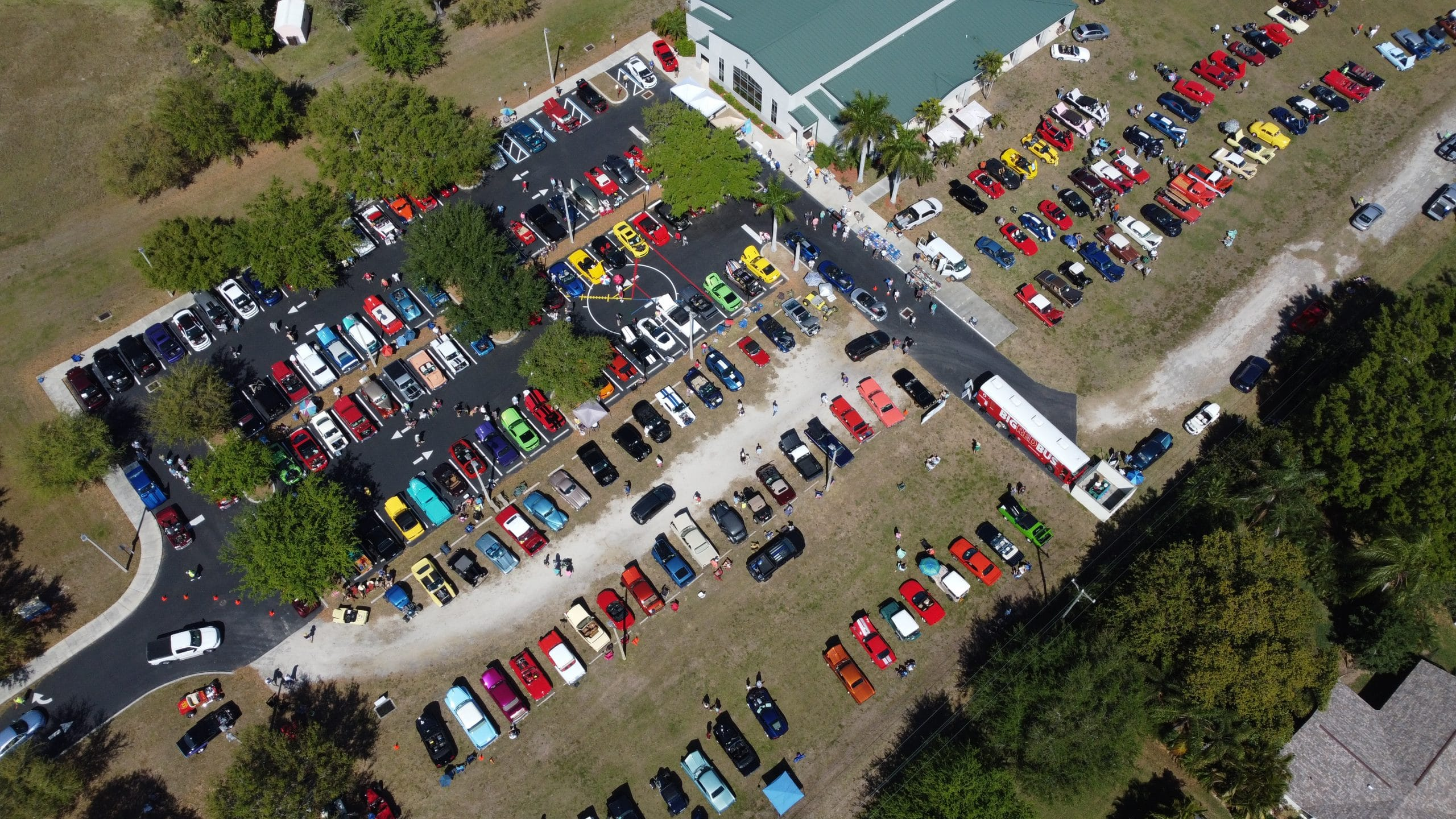 Arial view of the New Hope Church Car Show