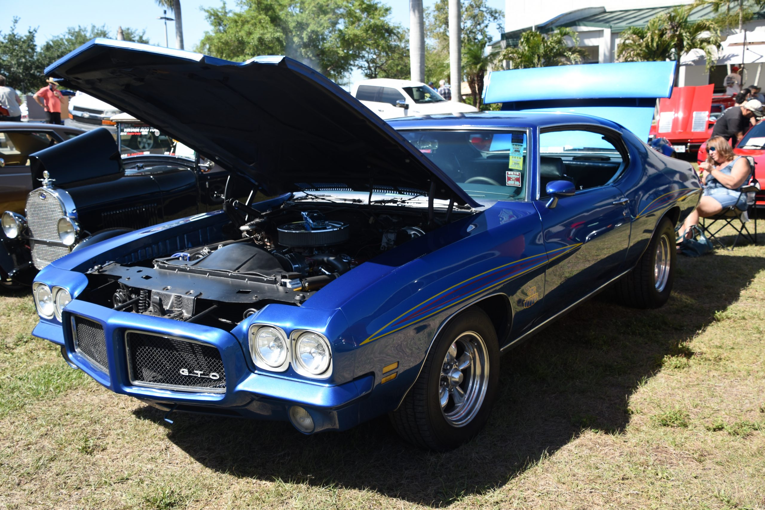 Blue GTO with the hood up