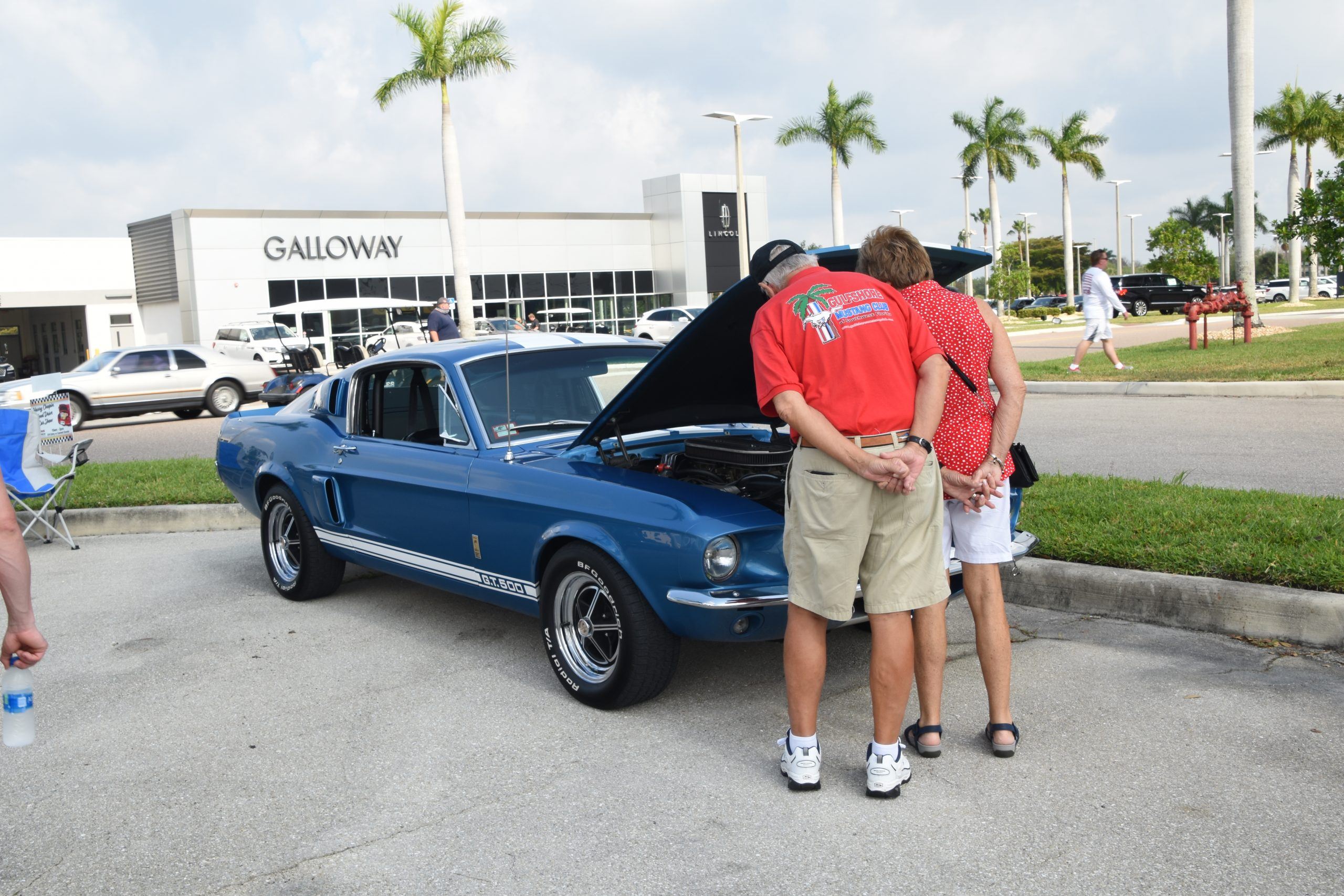 Two mustang club members looking at a Shelby mustang