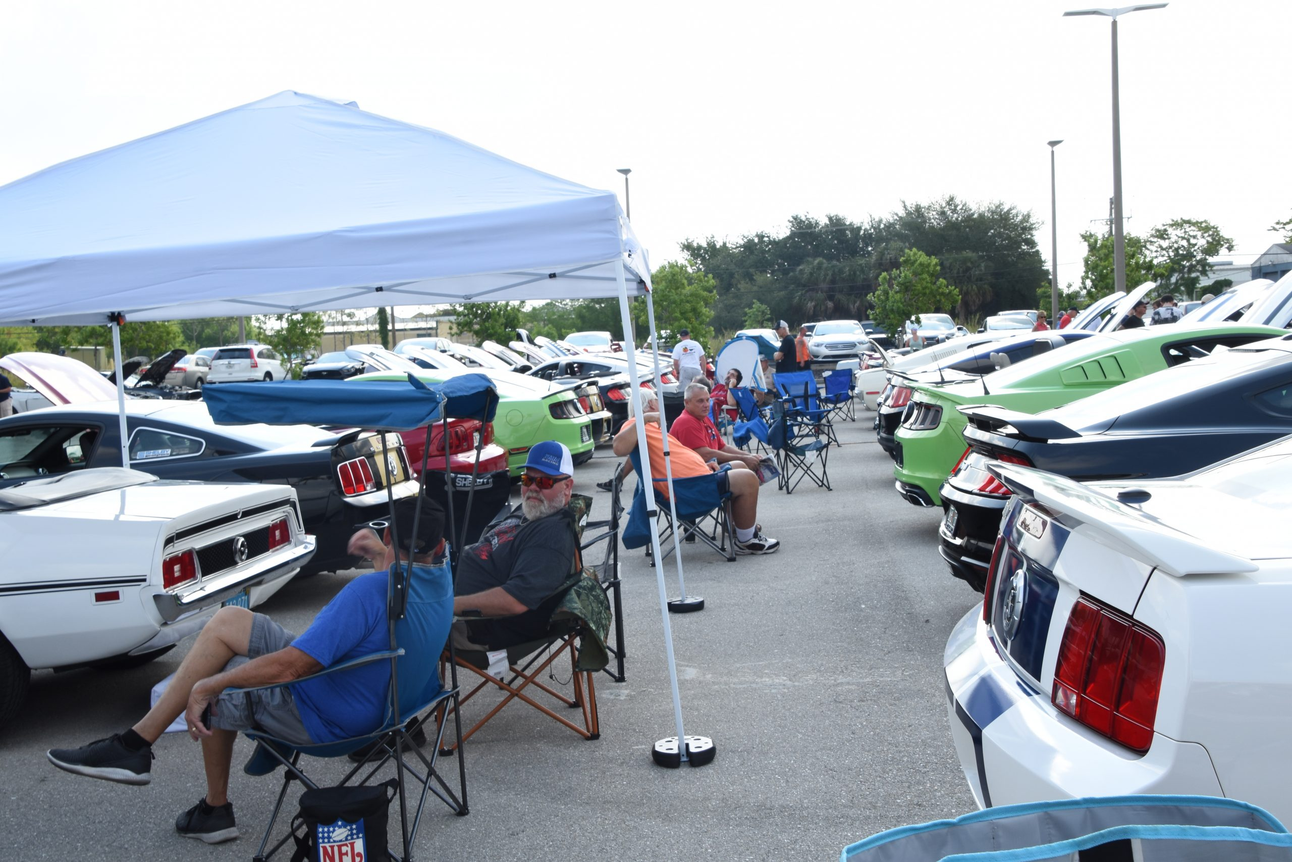 Mustang owners relaxing behind their cars